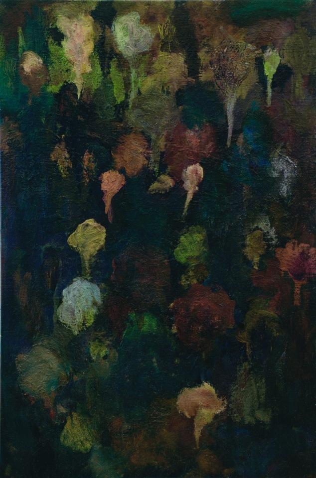 """""""Jardin"""" 2011, huile sur toile, 70 x 47 cm."""