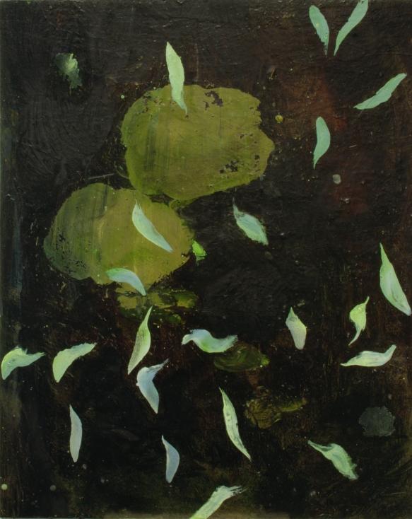"""""""Pluie de fleurs célestes"""" 2011, huile sur carton, 49 x 39 cm."""