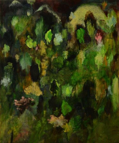 """""""Jardin"""" 2014, huile sur toile, 120 x 100 cm."""