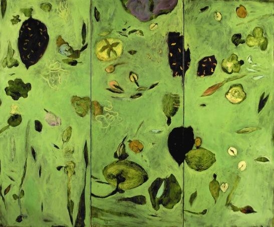"""""""Nature"""" 2005, huile sur toile, triptyque: 3 toiles de 200 x 80 cm."""