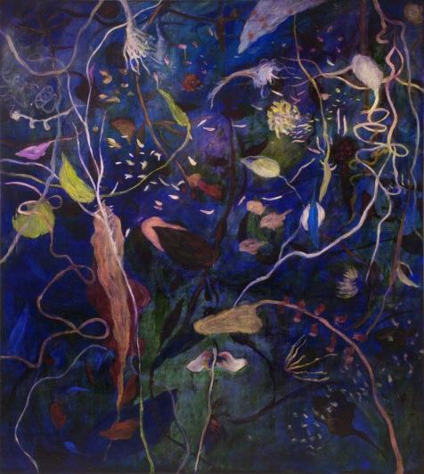 """""""Pluie de fleurs célestes"""" 2011, huile sur toile, 190 x 170 cm"""