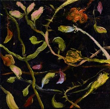 """""""Pluie de Fleurs célestes"""", 2011, huile sur toile, 20 x 20 cm."""