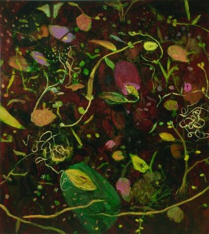 """""""Pluie de fleurs célestes"""" 2010, huile sur toile, 190 x 170 cm."""