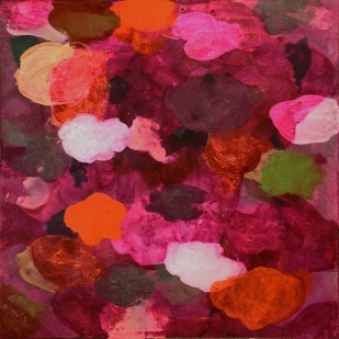 """""""Nuages"""", 2012, mixte sur papier, 40 x 40 cm."""