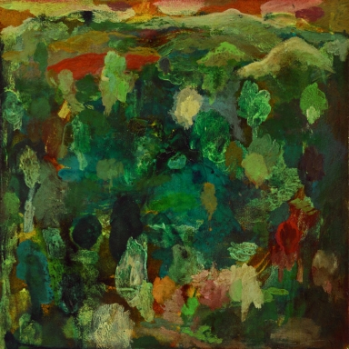 """""""Jardin"""", 2012, mixte sur papier, 40 x 40 cm."""