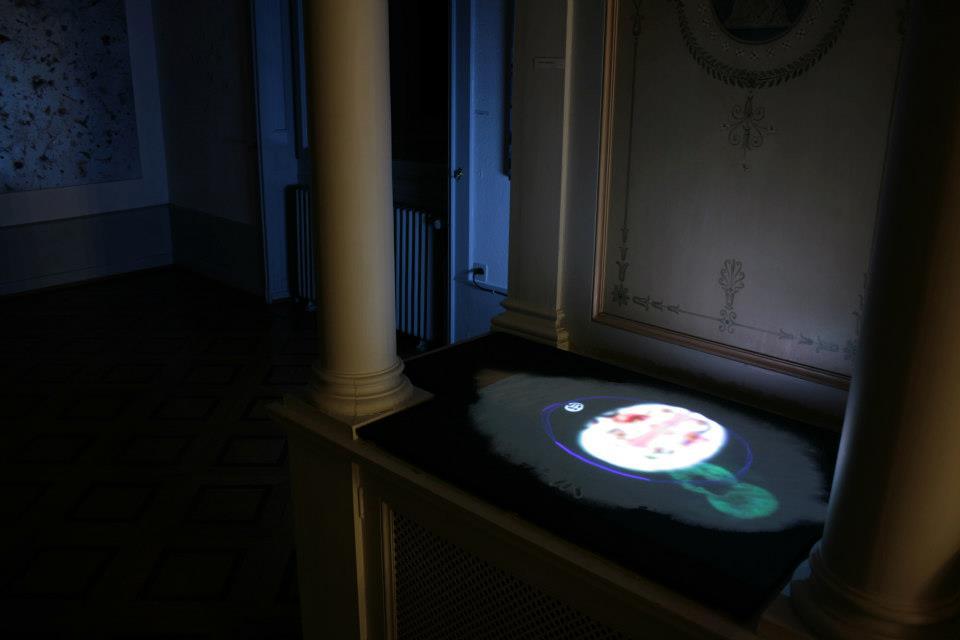 """Installation """"Voyage symbolique"""" lors de l'exposition """"Utopie picturale 1"""" Janvier 2013, Villa Dutoit, Genève."""