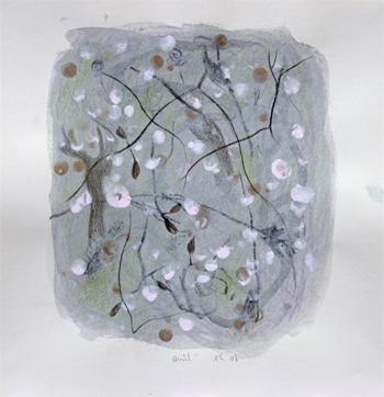 """""""Avril"""", 2008, mixte sur papier, 30 x 30 cm"""