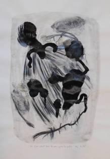 """""""Ils s'en vont..."""", 2005, mixte sur papier, 47 x 35 cm"""