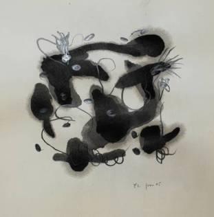 """""""La Chatte"""", 2005, mixte sur papier, 40 x 40 cm"""