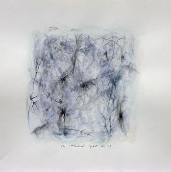"""""""En Attendant Godot"""", 2009, mixte sur papier, 30 x 30 cm"""