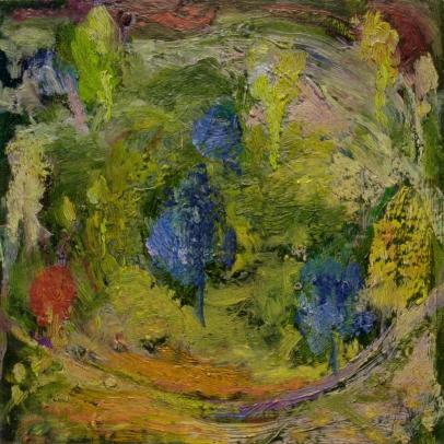 """""""Jardin"""" huile sur bois, 20 x 20cm"""