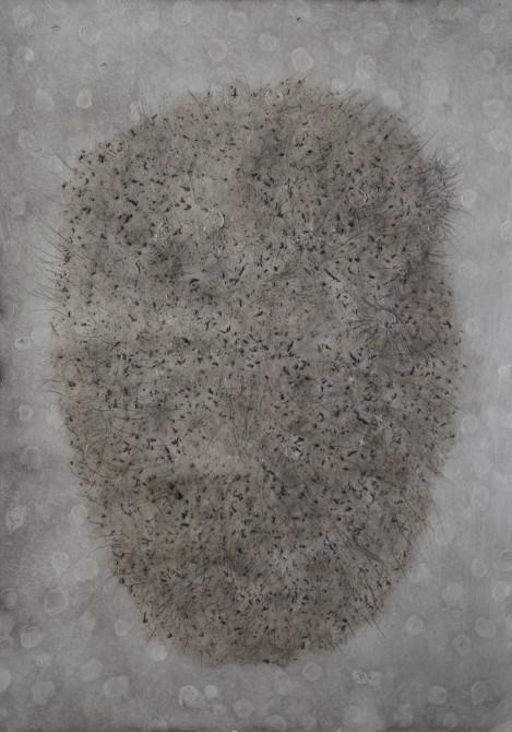 """""""Composte"""", 2019, mixte sur papier, 35 x 17 cm."""