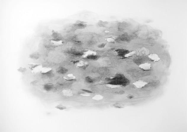 """""""Nuages"""" 2019, mine de plomb sur papier, 70 x 50 cm."""